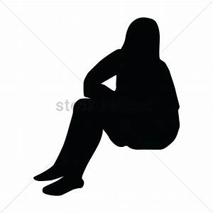 Silhouette of woman sitting Vector Image - 1447138 ...