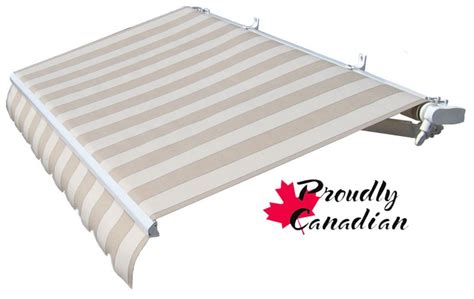 rolltec  ft manual retractable patio awning  ft   projection  beige stripes