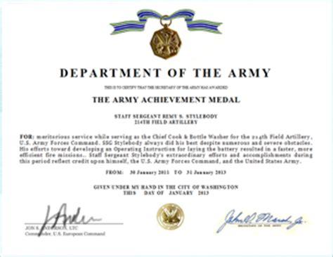 write  army achievement medal