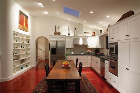 Red Tile Flooring Kitchen Mediterranean With Accent Tile