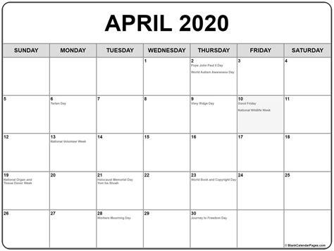 april calendar holidays printable calendar