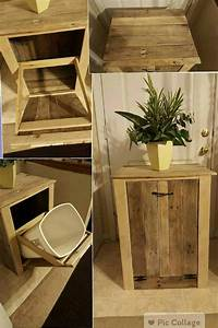 garbage can holder out of pallet wood o 1001 pallets With best brand of paint for kitchen cabinets with wooden candle holder plans