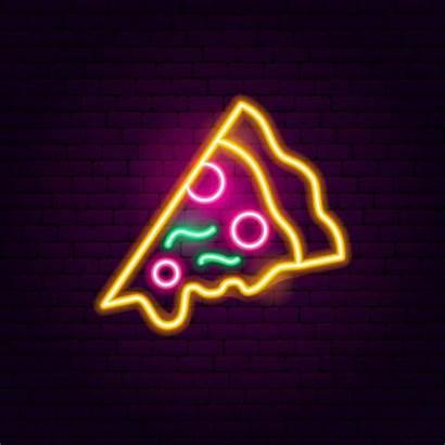 Pizza Neon Sign Vector Party Vectorstock Illustrations