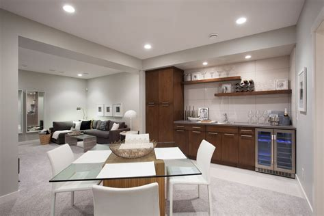 best type flooring basement family room with modern square dining table using glass top and