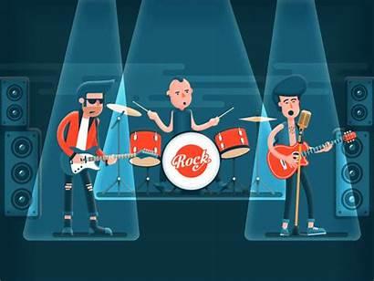 Band Rock Stage Motion Dribbble Singer Concert