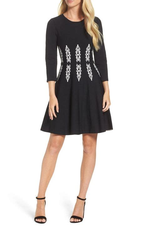 eliza   quarter sleeve fit flare dress