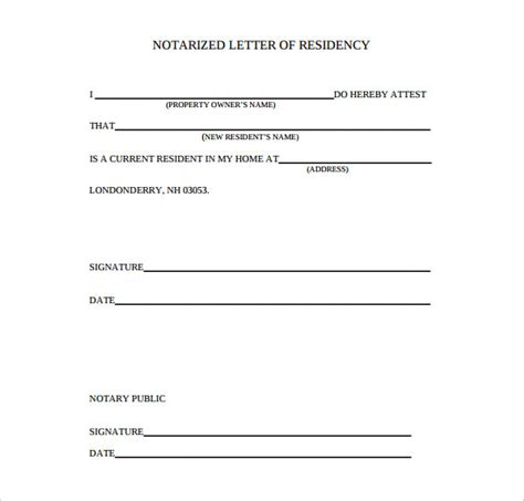 notarized letter  residency template business