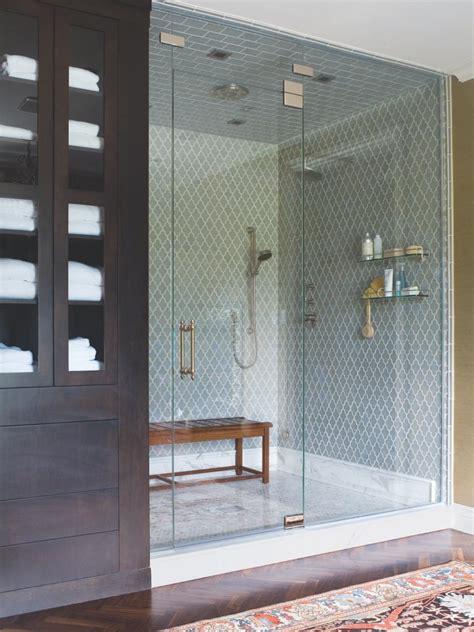 blue tile walk  shower  glass enclosure hgtv