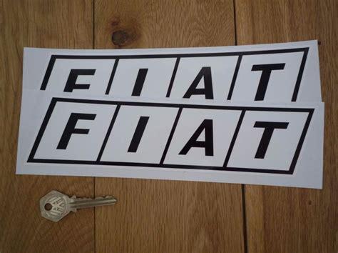 Fiat Logo. Black On White. Slanted Oblong Stickers. 10