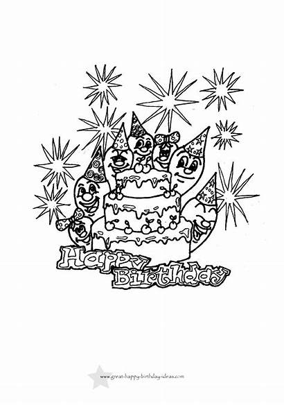 Birthday Coloring Printable Cards Happy Pages Card