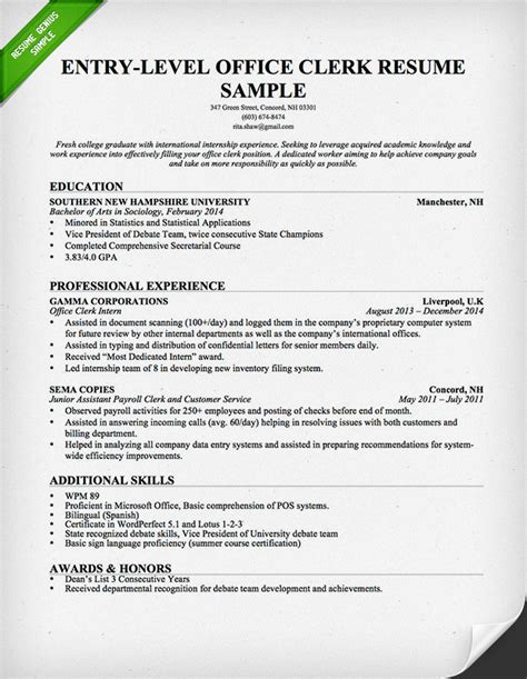 Clerical Resume Template by Entry Level Office Clerk Resume Sle Resume Genius