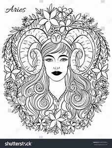 Zodiac Sign Aries Woman Hand Drawn Stock Vector 698708884 ...
