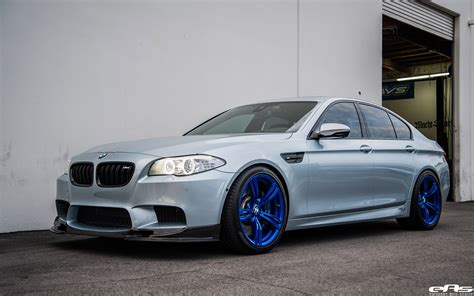 Silverstone Bmw M5 With Blue Wheels A Custom Exhaust
