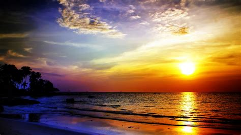 Download Wallpaper 1920x1080 Sea, Sunset, Landscape Full