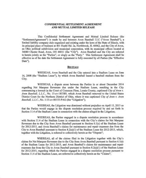 settlement agreement template 14 confidential settlement agreement templates free sle exle format free