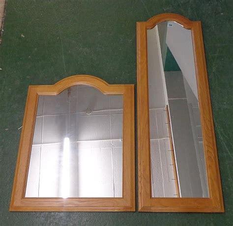 light oak framed domed top wall mirror approx 23 1 2 quot x 29