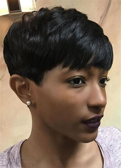 Black Pixie Hairstyles by Choppy Pixie Layered Cut With Bangs