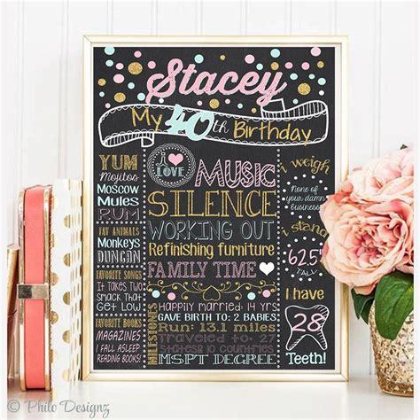 40th Birthday chalkboard sign 20th 30th 50th birthday