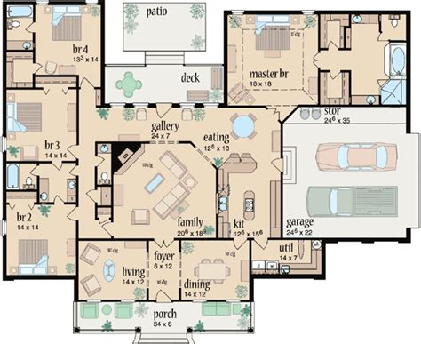 4 bedroom 2 bath floor plans country style house plans 3042 square home 1