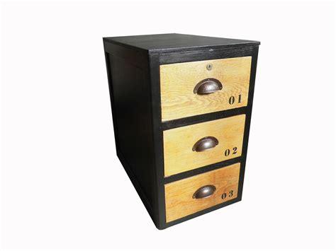 caisson bureau industriel caisson 3 tiroirs style industriel noir et bois meubles