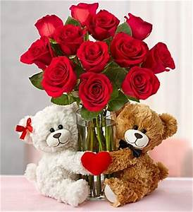 Valentine's Day Roses with Sweetheart Bears is the perfect ...