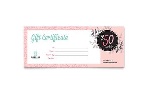 massage gift certificate template word publisher