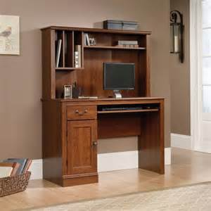 sauder computer desk with hutch planked cherry finish