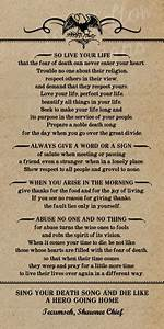 Poem by Tecumseh American Shawnee Chief. 10 x 20 Kraft Look