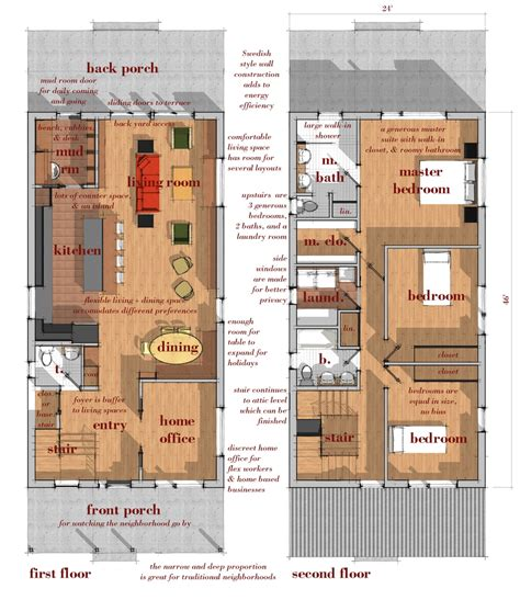 narrow lot modern infill house plans plucker design