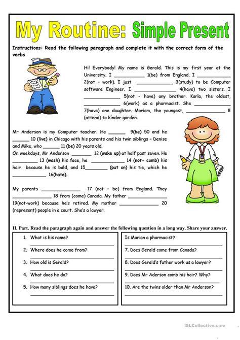routine simple present tense worksheet  esl