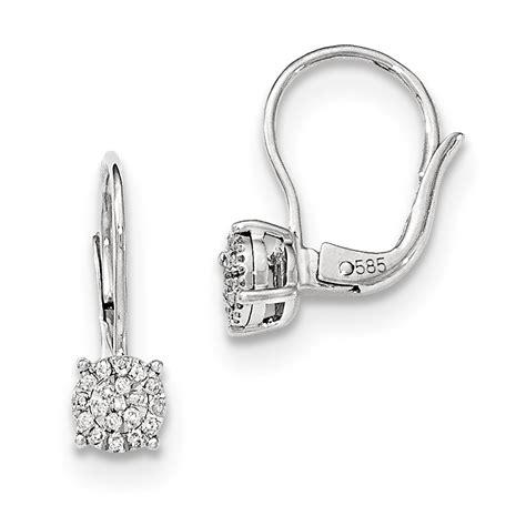 14k white gold leverback earrings j c 39 s jewelry
