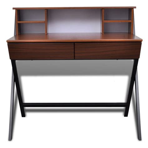 Brown Workstation Computer Desk With 2 Drawers Www