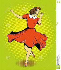 Beautiful Woman Dancing. Vector Illustration In Comics ...