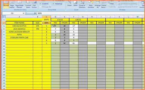 supply inventory spreadsheet template excel