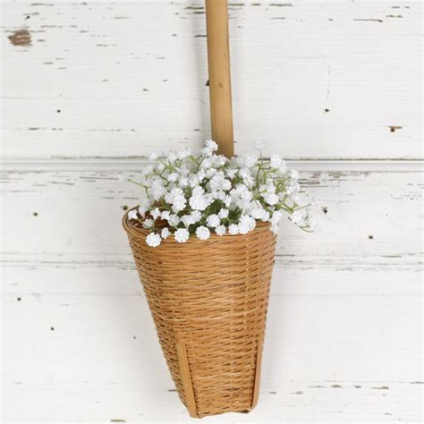 wicker cone wall hanging basket baskets buckets boxes home decor
