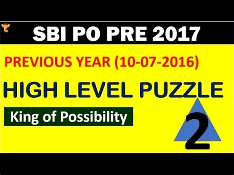 Sbi Po Pre 2017 High Level Puzzle (reasoning) #2king Of Possibility [ हिंदी में ] Part2 Youtube