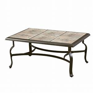 Hampton bay belleville tile top patio coffee table for Ceramic tile top patio table