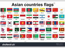 Set Asian Countries Flags Icons Rounded Stock Vector