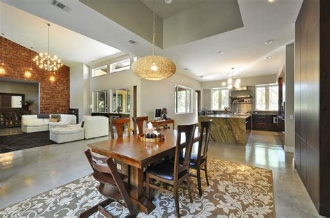 dining/kitchen/great room relationship.   Contemporary