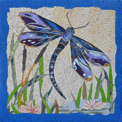 mosaic art tropical dragonfly handmade mosaic wall art