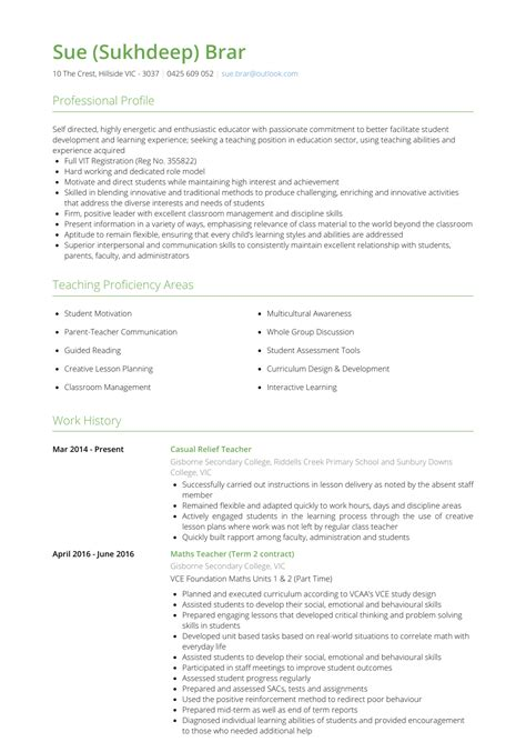 relief teacher resume samples  templates visualcv
