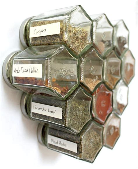 Empty Spice Jars With Rack by Honeycomb Magnetic Glass Jar Storage Set From Xerces