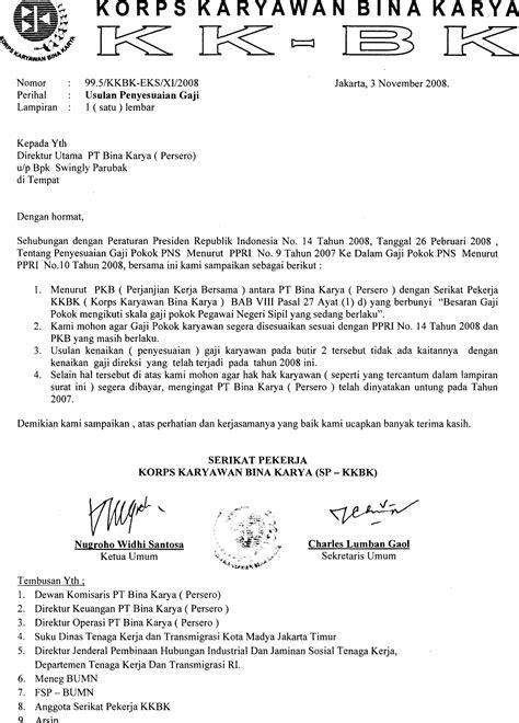 Usulan Penyesuaian Gaji   Serikat Pekerja KKBK PT Bina Karya (Persero)