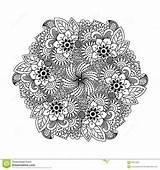 Element Coloring Round Henna Kleuren Boek Rond Voor Het Fabric sketch template