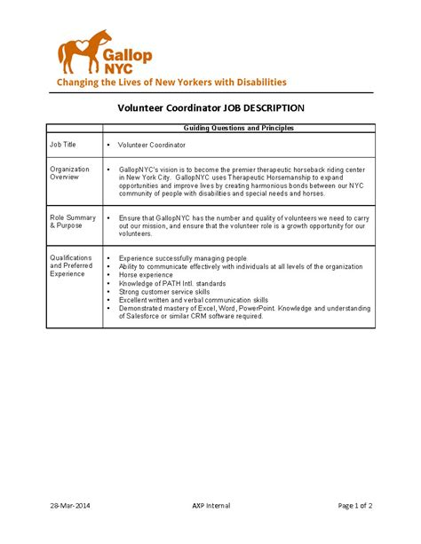 Description Of Volunteer Experience On Resume by Gallop Nyc We Re Hiring Volunteer Coordinator Needed