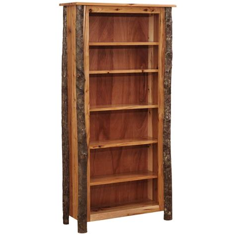 Log Bookcase by Hickory Log Bookcase Hilltop Amish Hickory Furniture