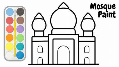 Mosque Coloring Pages Drawings Drawing Draw Easy