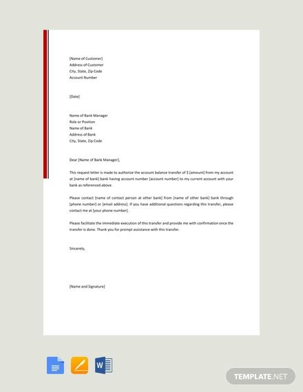 authorization letter  transfer money template