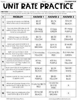 unit rate activity 6 rp 2 by lindsay perro teachers pay teachers