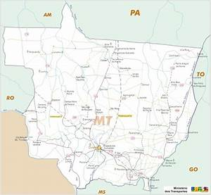 Playas de Brasil: Mapa rutero del Estado de Mato Grosso ...